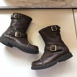 Ugg Brown Cowen Buckle Boots Leather Sheepskin 11